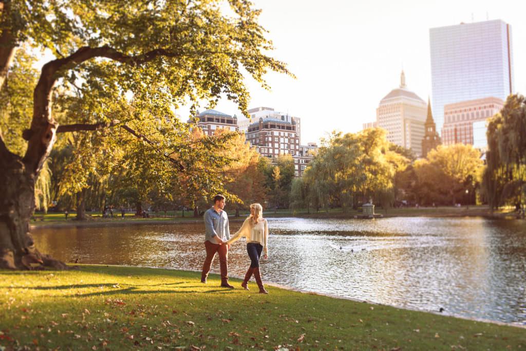 boston public garden engagement portraits magic hour