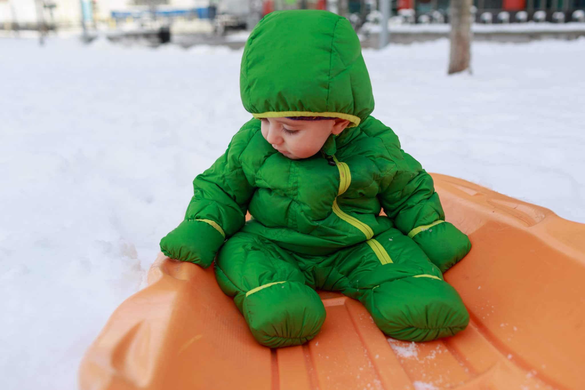 south boston family photographer documentary snow day winter outdoor sled