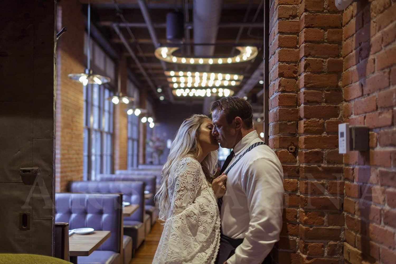 indoor engagement photos boston restaurant fort point