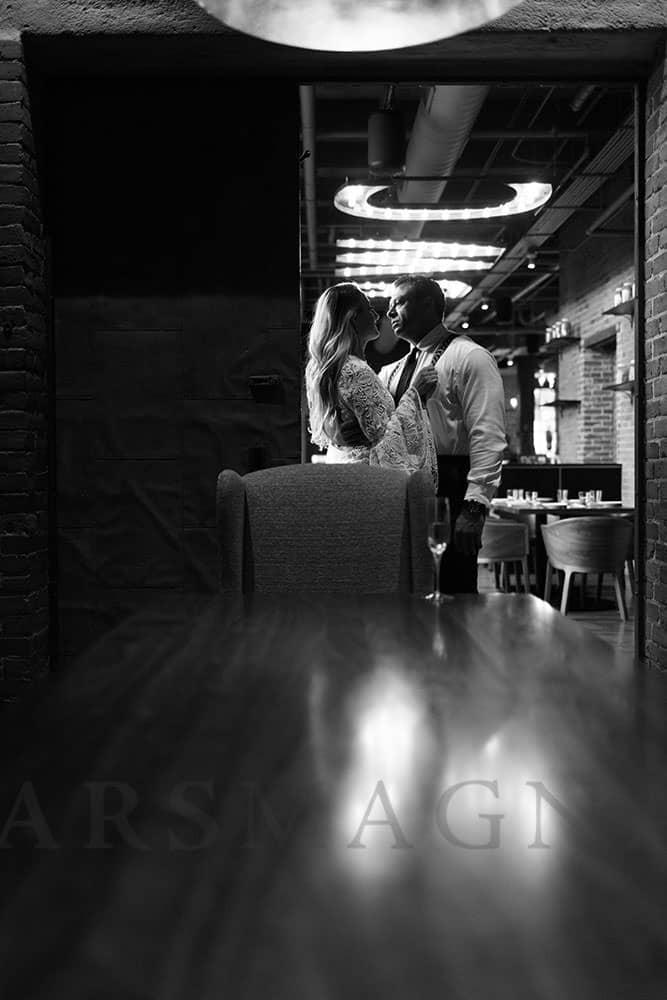 indoor engagement photography boston restaurant