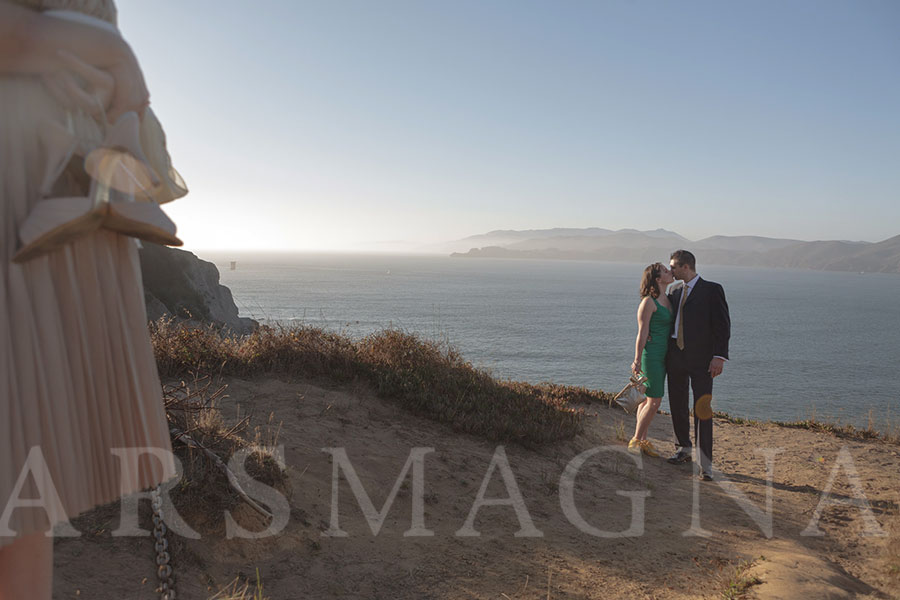 Bride and groom kiss after their elopement in San Francisco
