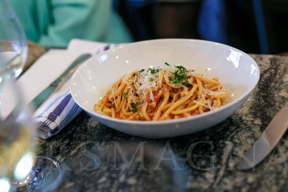 bucatini with tomato sauce, guanciale, pecorino and stracciatelle