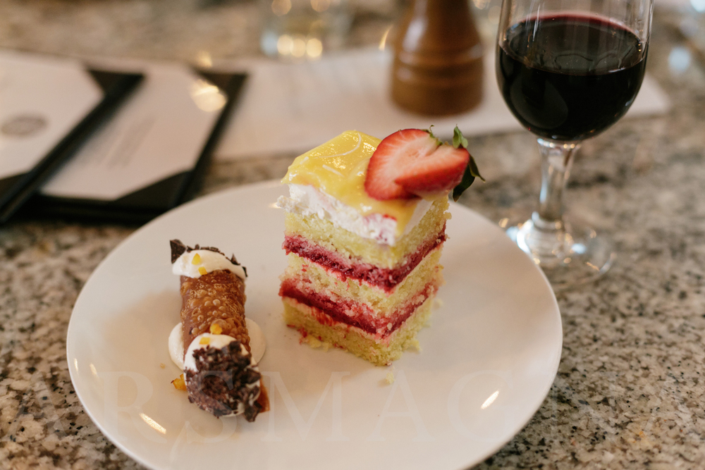 Wedding cake brought in from FlourBakery served with Center Street Cafe's cannoli.Check out the legs on that glass of port!
