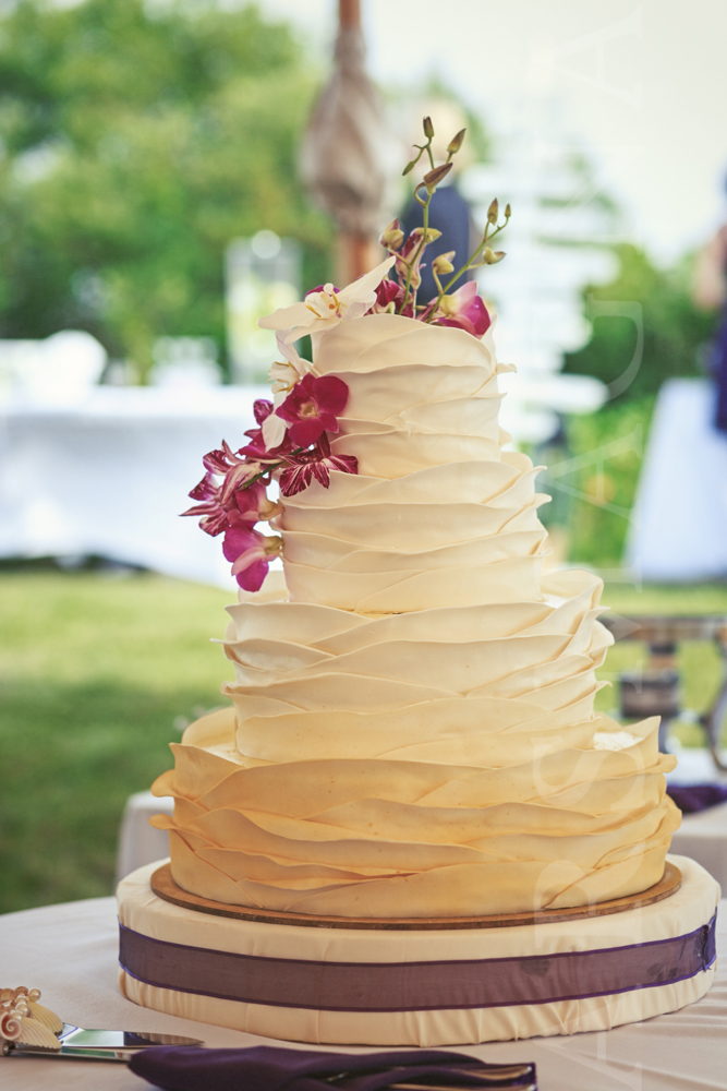 ombre layered cake decorated with pink orchids