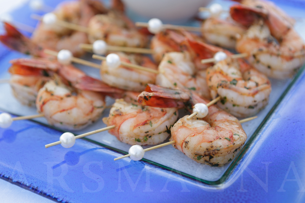 skewered shrimp with a pearl