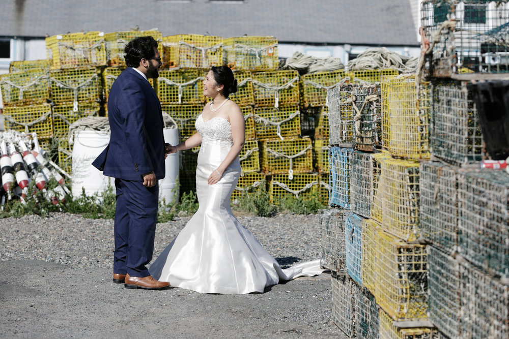 before their Shalin Lui performance center wedding ceremony, we had to stop by the lobster traps on Bearskin Neck Wharf and then head out to Motif Number One