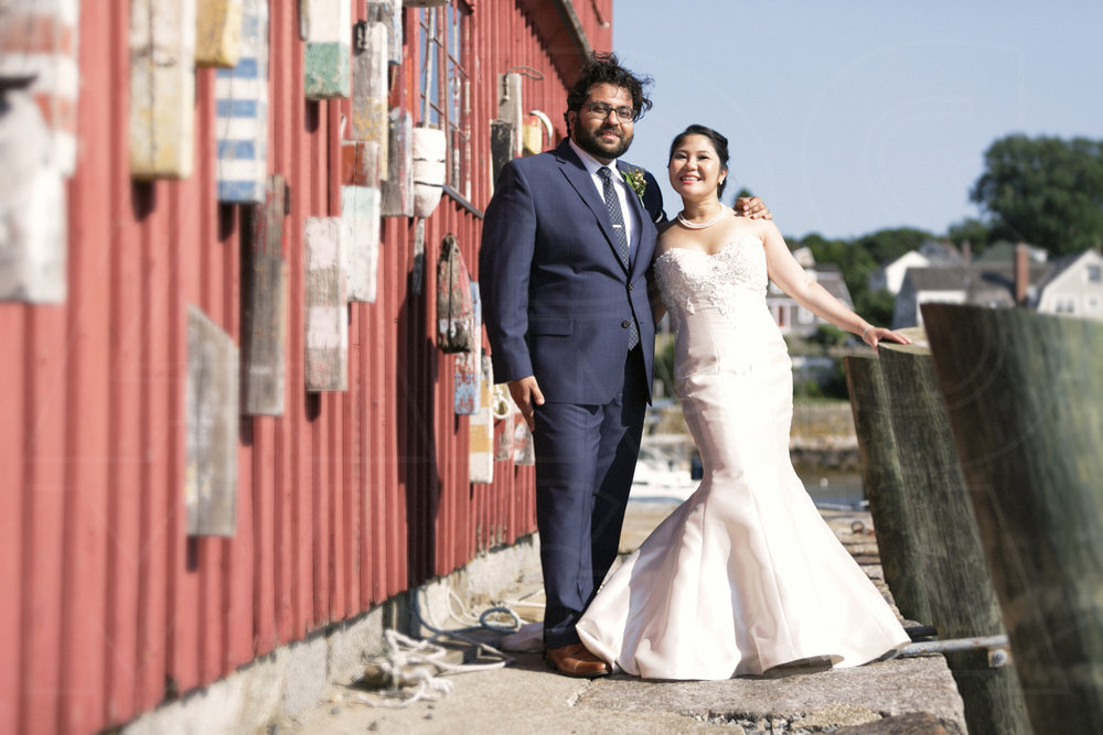the classic Rockport wedding portrait - with Motif #1 at Bearskin Neck Wharf