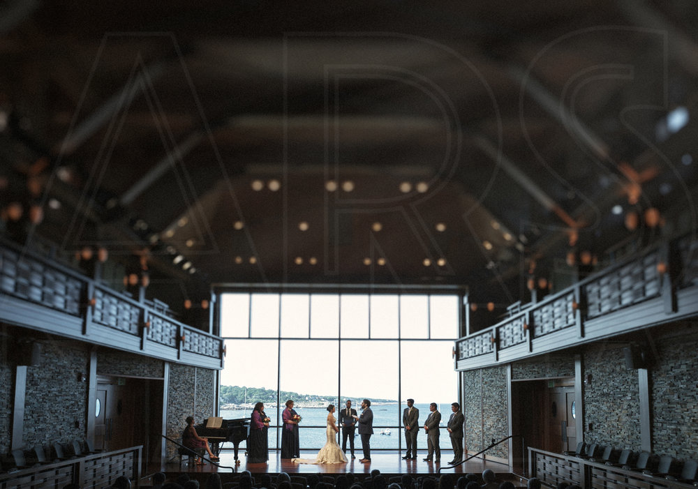 An emotional and tearful wedding ceremony at the stunning performance hall at Shalin Liu