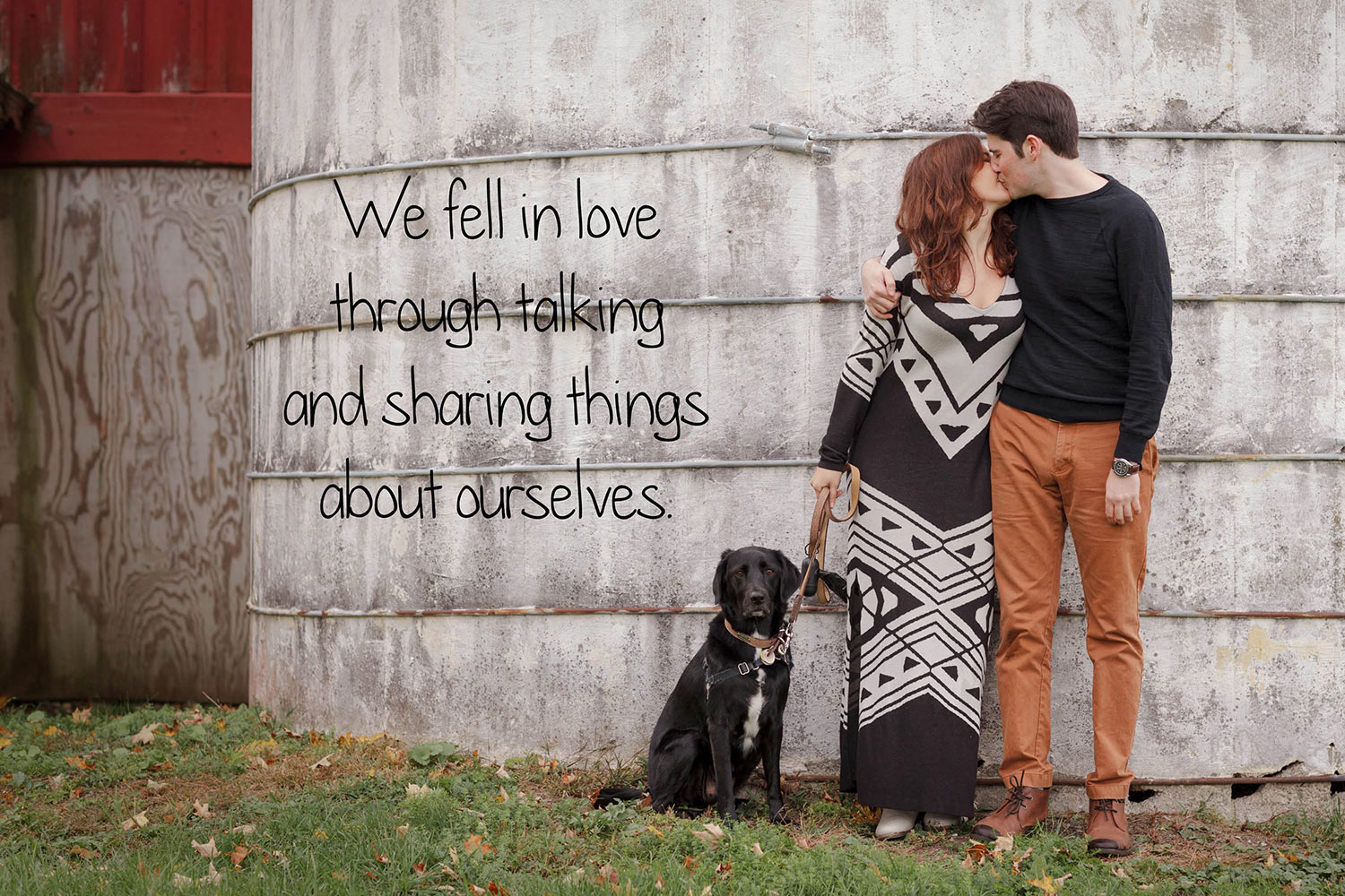 barn silo engagement photos with dog