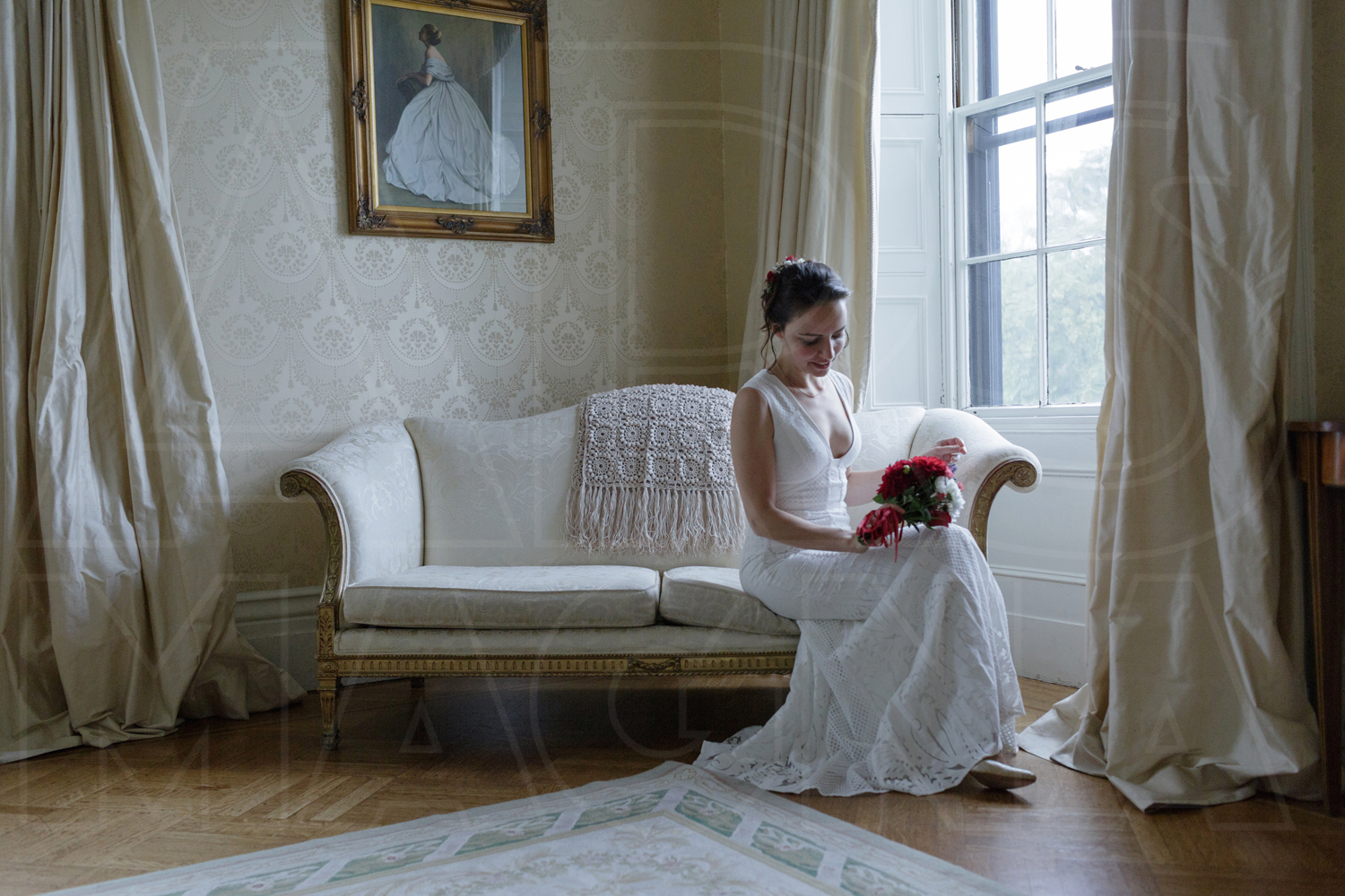 commanders mansion bridal portrait couch