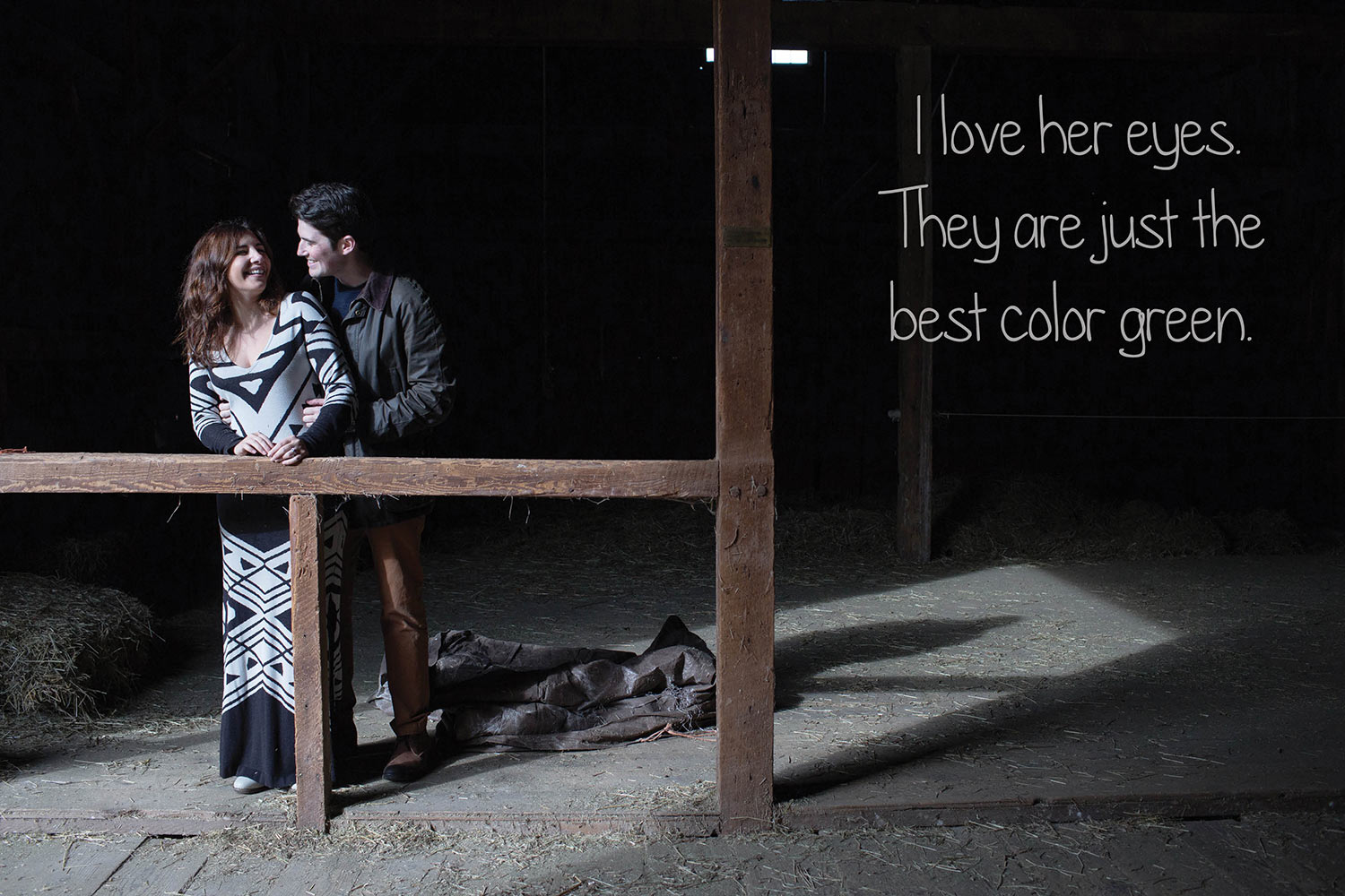 dramatic lighting frame barn engagement portraits canaan