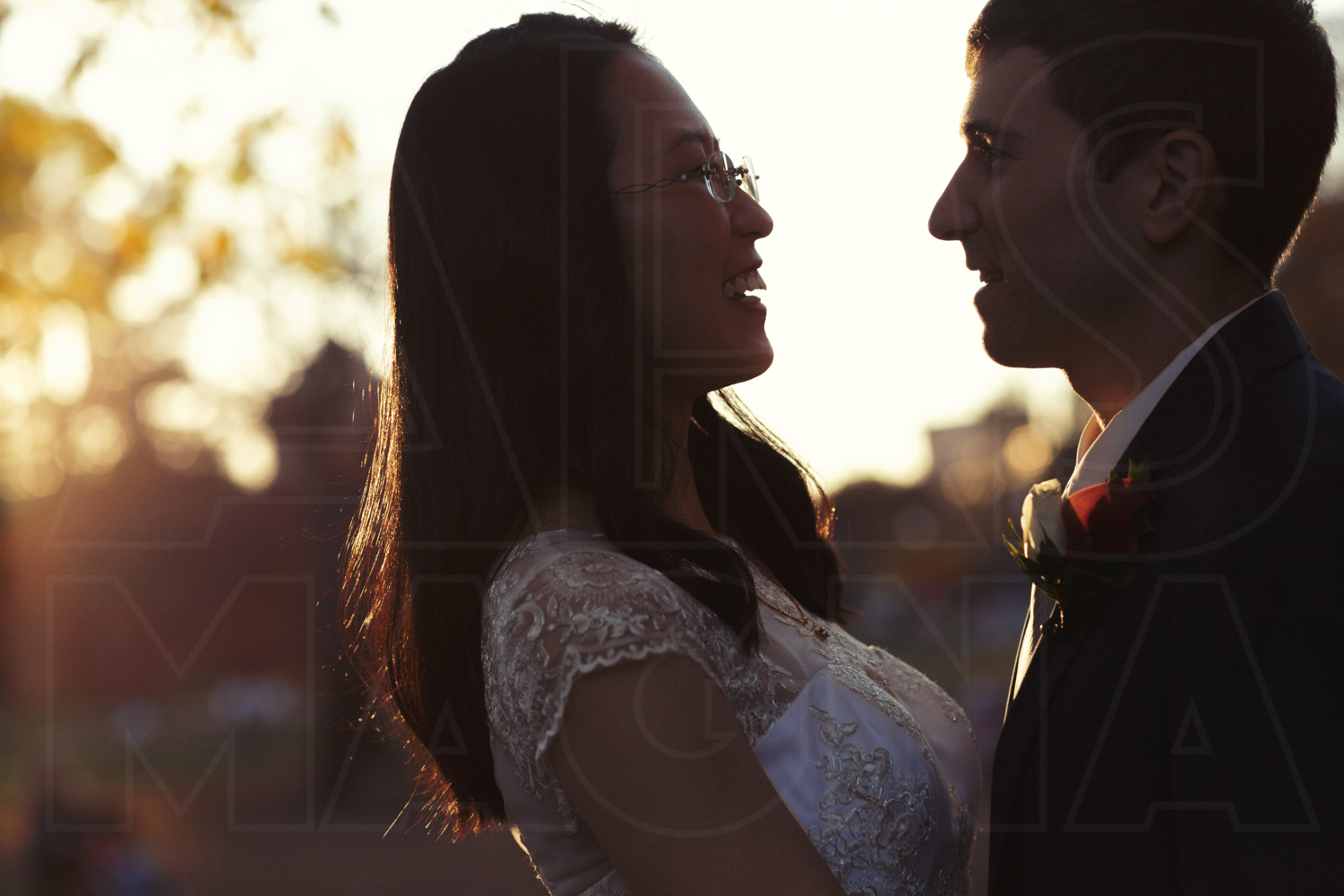 fall sunset boston wedding photos