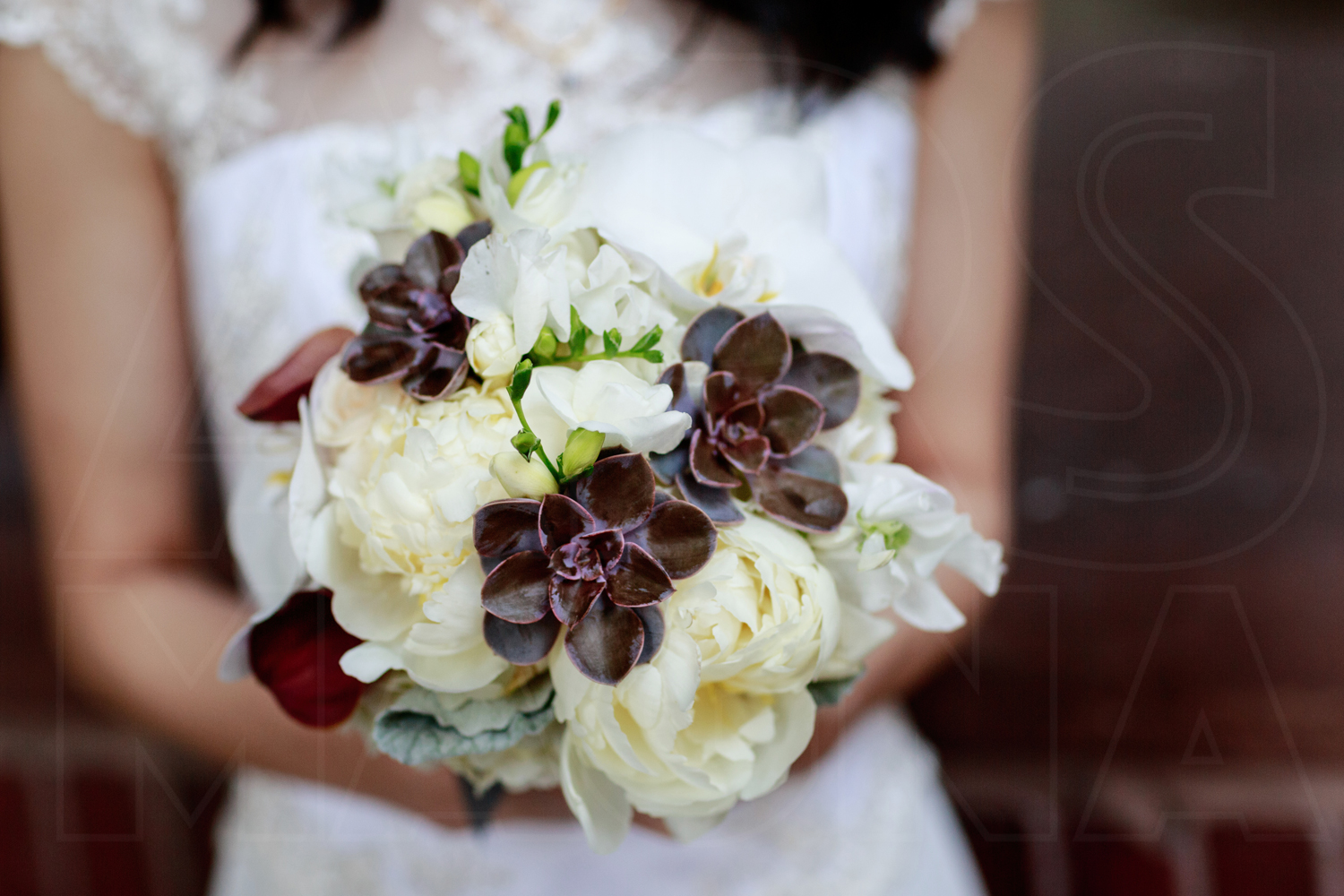 succulent orchid wedding bouquet