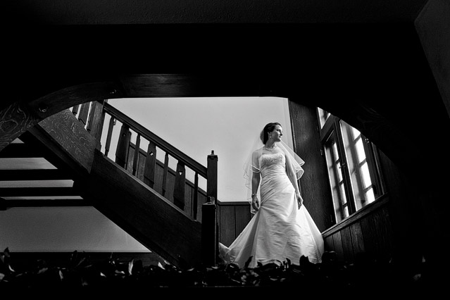 winter wedding willowdale estate bridal portrait staircase