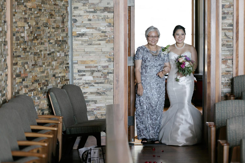 wedding ceremony shalin liu rockport bride with mother