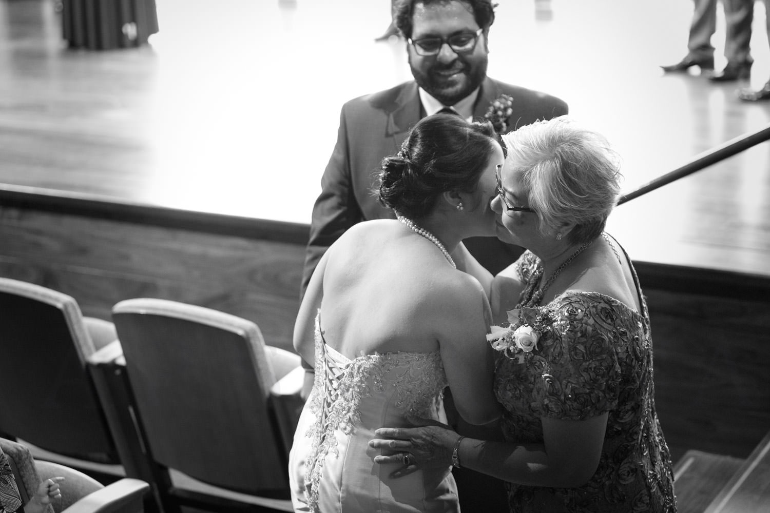 wedding ceremony shalin liu rockport bride with mother kiss