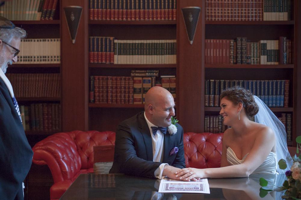 wedding hilton boston faneuil signing ketubah rabbi