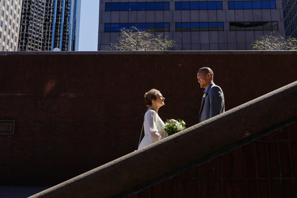 boston city hall wedding photographer staircase government plaza