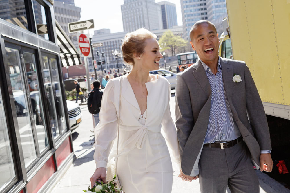 downtown boston wedding portraits urban city