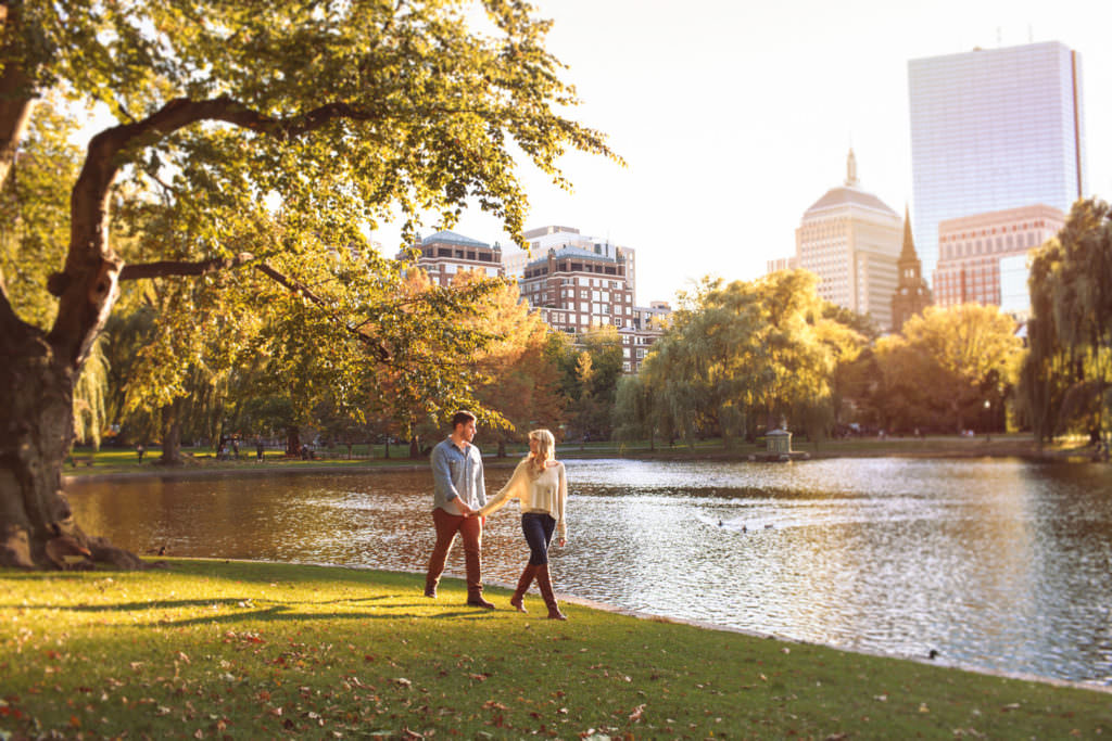 boston public garden engagement portraits magic hour