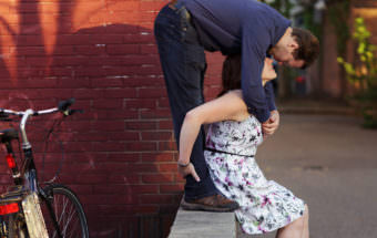 bike path kiss engagement portrait davis square photos magic hour