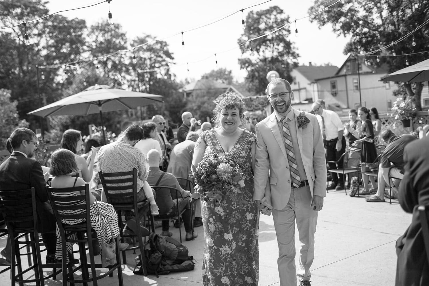 jamaica plain wedding at bella luna patio ceremony