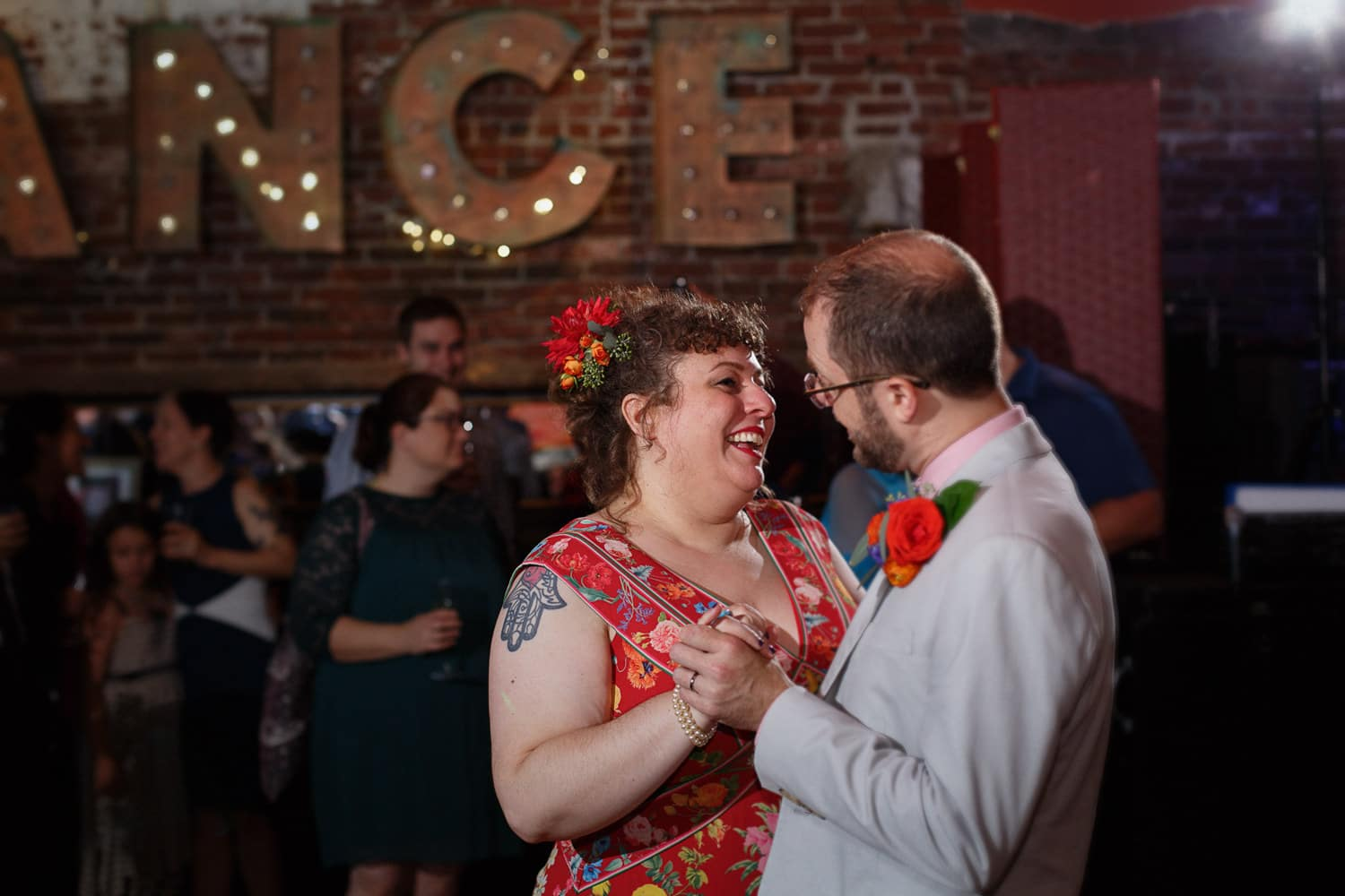jamaica plain wedding at bella luna red dress first dance