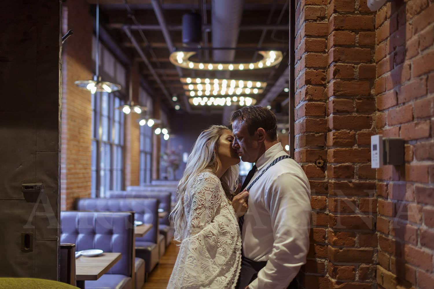 indoor engagement photos boston restaurant fort point