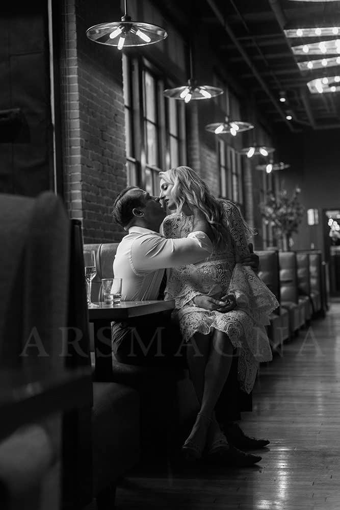 indoor engagement photos boston restaurant fort point bar