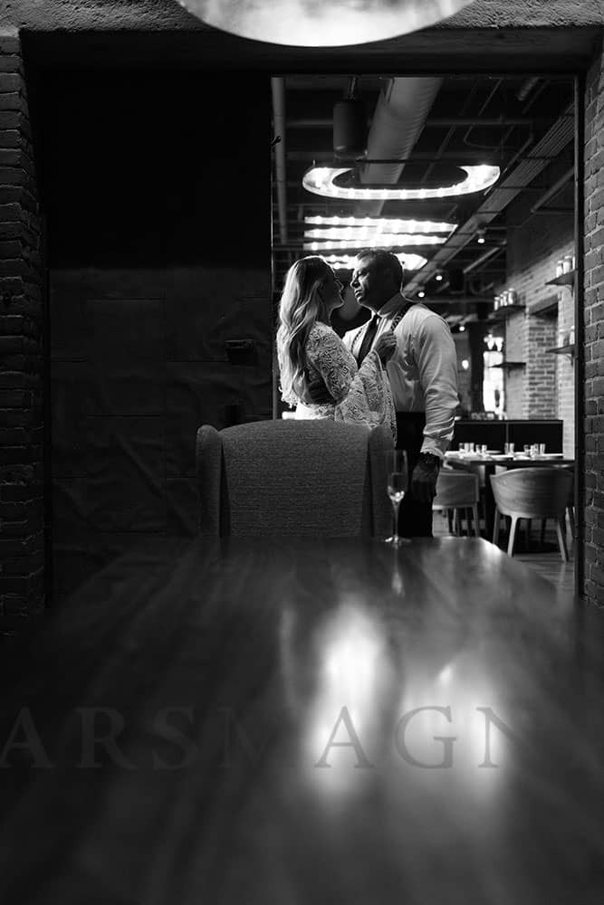 indoor engagement photography boston restaurant