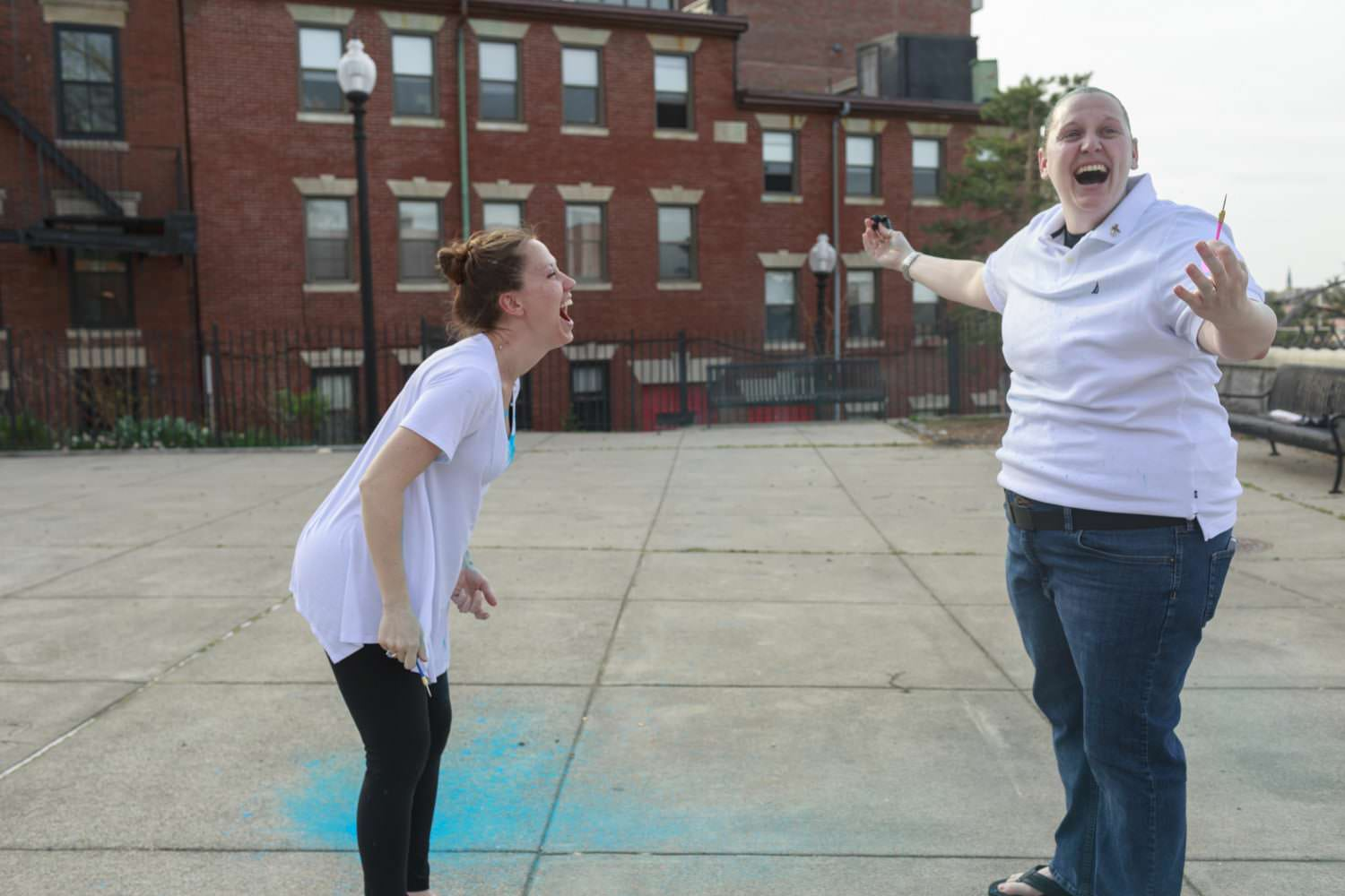 boston north end two moms gender reveal pictures balloon pop it's a boy