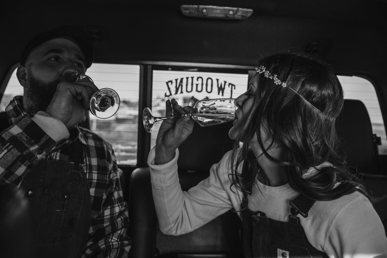 champagne toast in the truck november elopement york maine photography