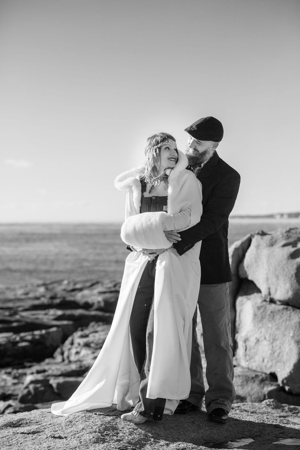 bride groom overalls cape beach wedding maine york